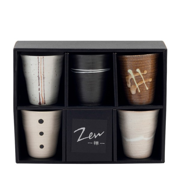 coffret zen 5 tasses l 39 esprit zen s 39 installe chez vous ateapik. Black Bedroom Furniture Sets. Home Design Ideas